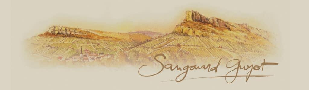 Domaine Sangouard-Guyot Schriftzug mit Berg